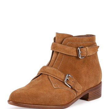 Windle Double-Buckle Suede Ankle Boot, Camel - Tabitha Simmons