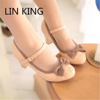 LIN KING New Princess Lolita Bowtie Cute Sweet Japanese Women Shoes Cosplay Maid Anim Shoes Student Girls  PU Leathe woman pumps