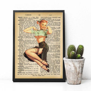 Black Friday, Instant download, Pinup girl Dictionary Art Print, Pin up Wall Art, Pin up Art, Music Art Print, Dictionary Pin Up Girl Print