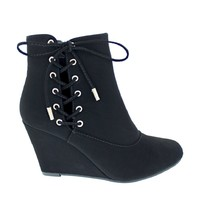 Side Lace Wedge Bootie