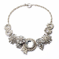 Clear Crystal Cluster Statement Necklace