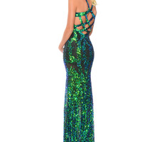 Precious Formals P9120 Sequin Strappy Back Prom Dress Evening Gown