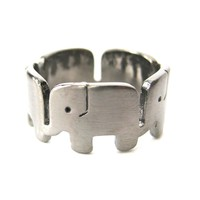 Elephant Family Parade Animal Ring in Gunmetal Silver - US Size 6 to 8 Available
