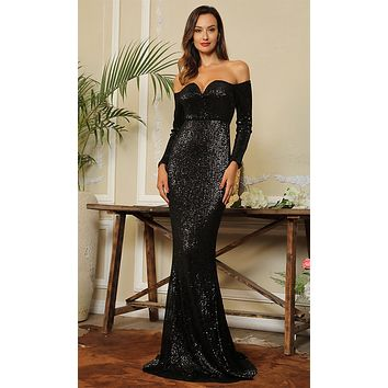 Midnight Memories Black Sequin Long Sleeve Off The Shoulder V Neck Sheath Maxi Dress