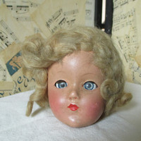 Vintage Creepy Doll Head--Sleepy Eye Doll--Naturally Aged--Crazy Hair--Spooky Halloween Decor