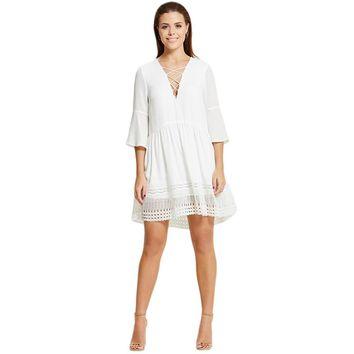 Women White Lace Patchwork Casual Mini Dresses V-Neck Three Quarter Sleeve  Elegant