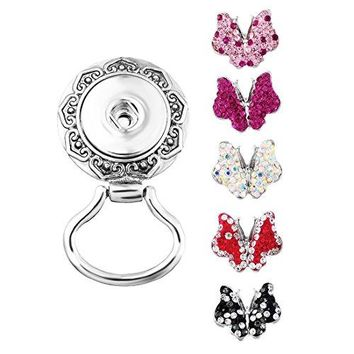 Souarts Interchangeable Eyeglass Holding Snaps Magnetic Brooch with 5pcs Rhinestone Butterfly Buttons