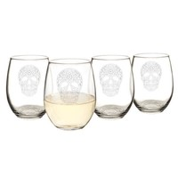 Sugar Skull 21 oz. Stemless Wine Glasses (Set of 4)