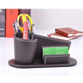 wood structure leather abnormal desk pen box with name card holder office stationery accessories holder organizer brown 308B