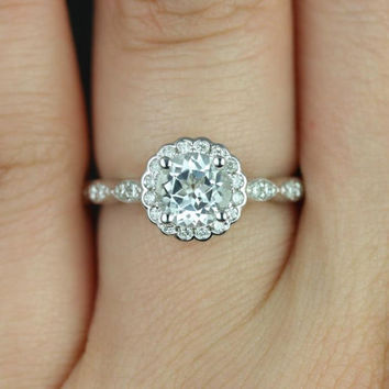 Sunny 6mm 14kt White Gold Round White Topaz and Diamonds Halo WITHOUT Milgrain Engagement Ring (Other metals and stone options available)