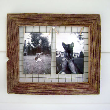 Barn wood Frame Picture Hanger/Jewelry Organizer repurposed barn wood, wire clothespin photo hanger