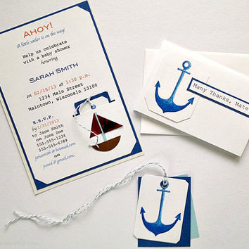Nautical Theme Anchor Invitations Thank You Notes by CreativeLily
