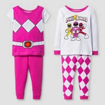 Baby Girls' Power Rangers® 4-Piece Pajama Set - Pink : Target