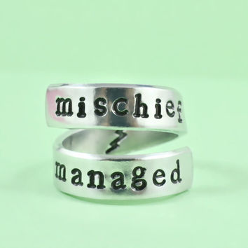 mischief managed - Hand Stamped Spiral Ring, Harry Potter Inspired Ring, Personailzed Ring