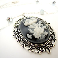 Antique Silver Black & White Flower Cameo Necklace with black silver and white crystals