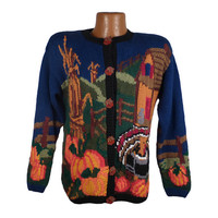 Ugly Christmas Sweater Vintage Tacky Holiday Party Thanksgiving Cardigan Women's size M