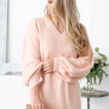 Baby Pink Balloon Sleeve Fuzzy Soft Sweater