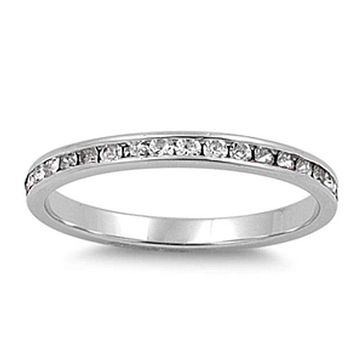 Thin 1.5mm Sterling Silver Channel Set Eternity Cubic Zirconia Ring