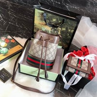 GUCCI Ophidia mini GG bucket bag + Ophidia GG card case wallet