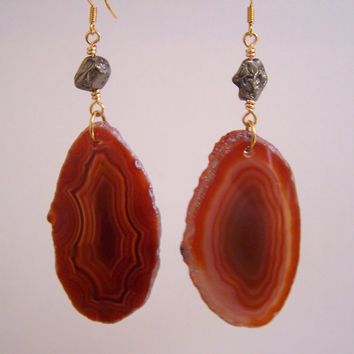 Amber Agate Slice & Pyrite Gold Earrings  Banded by VictoryJewelry