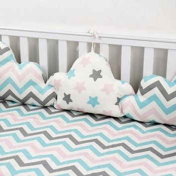 Clouds Shape Bumpers For Baby Crib Bedding Set 3 Pcs Linked Pillows In Baby Bed Baby Room Decor Newborns Cot Protector Bumpers