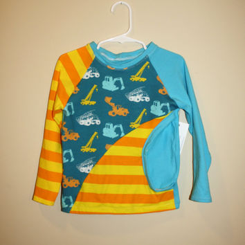 4T Treasure Pocket Tee, digger shirt for boy, long sleeve striped orange, yellow, and blue knit shirt