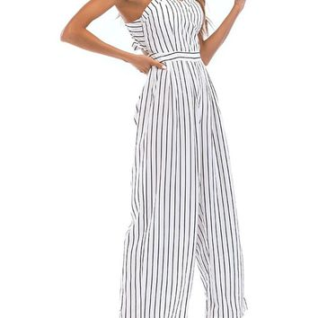Sexy Backless Stripe High Waist Long Jumpsuits