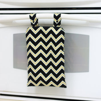 Kitchen Wet Bag, Black and Gold Chevron Wetbag, Unpaper Towel Bag, Laundry Bag, Hanging Wet Bag, Waterproof Kitchen Towel Bag