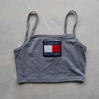 Reworked Tommy Hilfiger Crop Top/ Bandeau Style Top in Grey