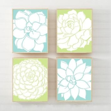 Blue Green Flower Wall Art, Flower Bathroom Decor, Aqua Lime Bedroom WALL Art, Botanical Succulent Flowers CANVAS or Prints Set of 4 Artwork
