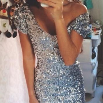 Silver Sequin Ariel Party Dress