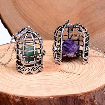 Womens Antique Vintage Style Silver Crystal Bird Cage Locket Pendant Necklaces
