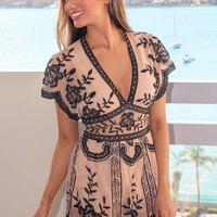 Nude and Black Lace Romper