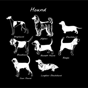 Hound Dog Breed Vinyl Decal Custom Car Vehicle Decal Afghan, Coonhound, Bassett, Beagle, Dachshund, Bloodhound, Grey hound