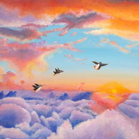 penguins flying across a new sky Art Print by MaryAnn Loo