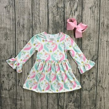 baby girls Fall dress clothing girls unicorn dress children soft mink silk dress girls sparkle unicorn boutique dress with bows