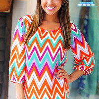 Manhatten Sunset Chevron Top: Multi | Hope's