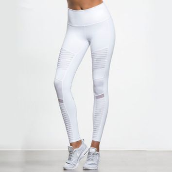Women Elastic waistband Yoga pants with Mesh Panels High Waisted Moto Leggings in White Sport Yoga Leggings