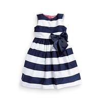 Kid Baby Girls Dress Summer Sleeveless One Piece Dress Blue Striped Bowknot Tutu Dress