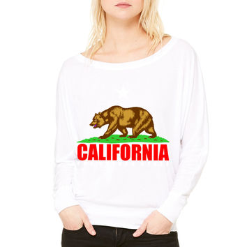 California WOMEN'S FLOWY LONG SLEEVE OFF SHOULDER TEE