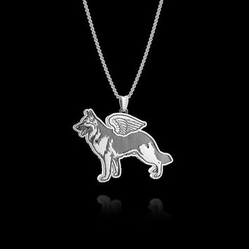 Pendant Necklace dog Angel puppy handmade police k9 German Shepherd necklace pendant Jewelry For Girl Women