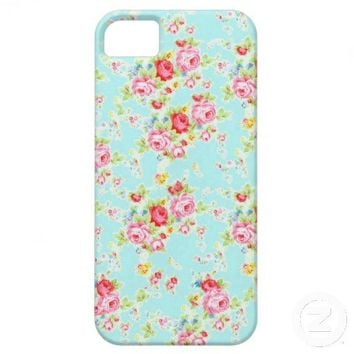 Vintage chic floral roses blue shabby rose flowers iPhone 5 case from Zazzle.com