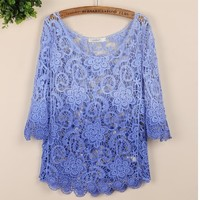 coolstyle — Sweet big seven yards round collar sleeve hook flower loose hollow-out sweater bud silk blouse