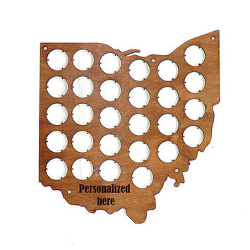 Ohio Beer Cap Map Beer Cap Display Personalized Engraving Gifts for men Father's day Gifts for Dad Valentines gifts for him