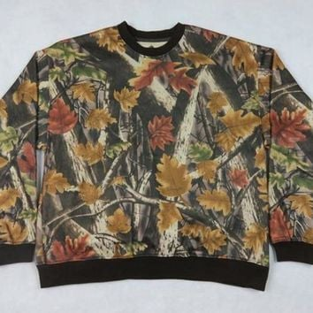 Mens Outdoor Hunting Bionic Camouflage Camo Tops Pile Coating Sweater Tree Leaves Pattern