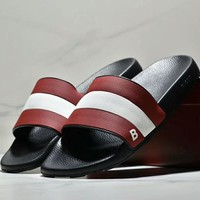 Bally New Fashion men red and white stripe slippers shoes