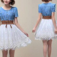 Short-sleeved Denim Lace Dress
