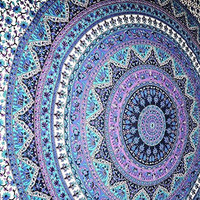 Handicrunch Mandala Tapestries Wall Hanging Indian Hippie Tapestry Bohemian Wall Tapestries for Dorms College Decor Bedding - Beach Blanket Picnic Sheet (60x90 Inches)