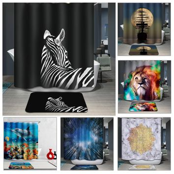 180*180CM Bathroom Products 3D Shower Curtains Animal Printed Waterproof Polyester Washroom Curtains Home Bath Screens free ship