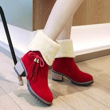 Fringe Chunky Low Heel Suede Calf Boots